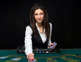 Live casino gaming - image of a live casino dealer