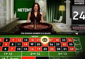 Ein Live-Roulette-Tisch von NetEnt mit einem Dealer
