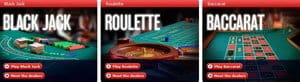 Red Bet Casino table games