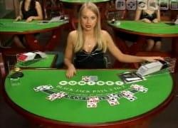 Live dealer dealing cards