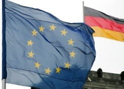 Europaïschen Union und Deutsche flagge
