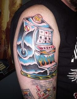 Blue slot tattoo