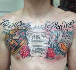 Chest tattoo gambling
