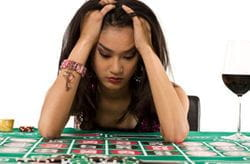 Gambling addict woman