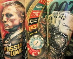 James Bond roulette tattoo