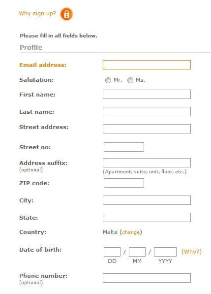 ClickandBuy sign-up form