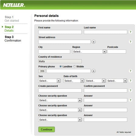 Neteller Sign Up Page