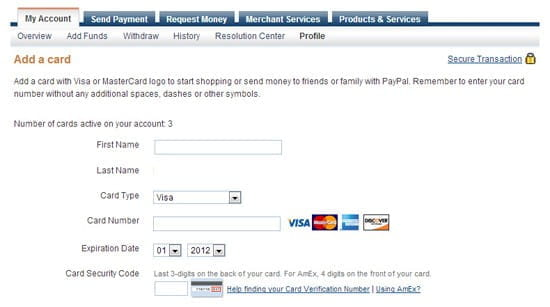 PayPal credit card registration