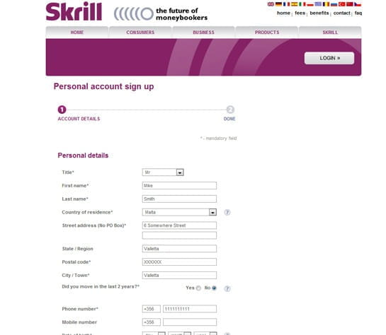 Skrill signup page