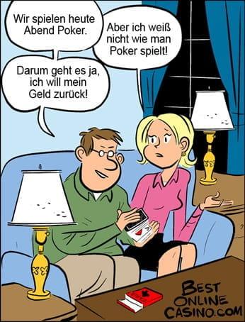 Ein Mann möchte mit seiner Frau Poker spielen