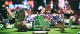 Casino Chips on a Playing Table